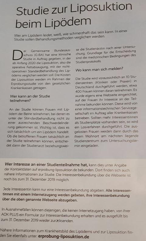 AOK ZEitschrift- Artikel über Erbobungsstudie