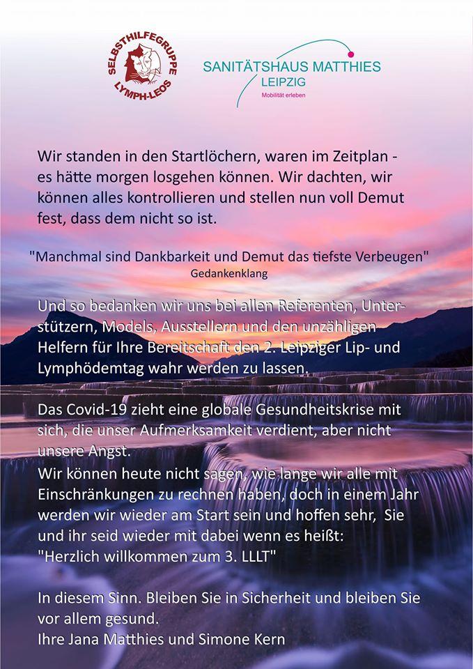 Hier der Text von den Veranstaltern des 2. Lymphtages Leipzig